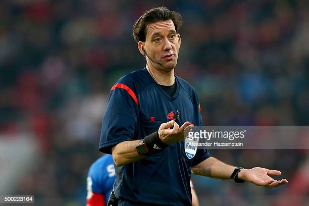 Referee Manuel Graefe reacts during the Bundesliga match between FC Ingolstadt and TSG 1899 Hoffenheim at Audi Sportpark on December 5 2015 in...