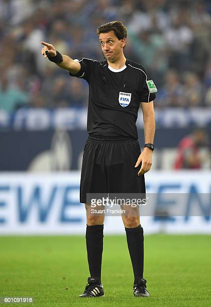 Referee Manuel Grafe reacts during the Bundesliga match between FC Schalke 04 and Bayern Muenchen at VeltinsArena on September 9 2016 in...