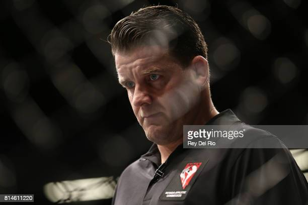Referee Marc Goddard looks on during the bout between Cody Stamann and Terrion Ware during the UFC 213 event at TMobile Arena on July 9 2017 in Las...
