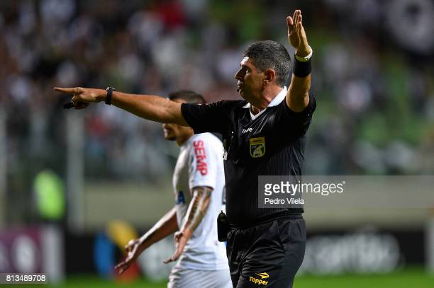 Referee Marcelo de Lima Henrique during a match between between Atletico MG and Santos as part of Brasileirao Series A 2017 at Independencia stadium...
