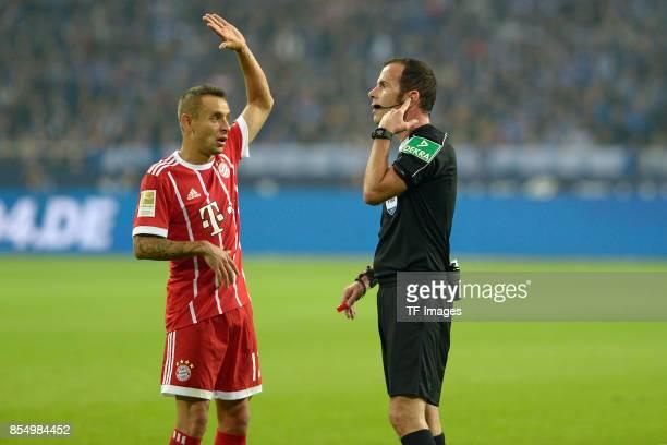 Referee Marco Fritz gestures during the Bundesliga match between FC Schalke 04 and FC Bayern Muenchen at VeltinsArena on September 19 2017 in...