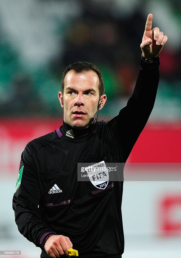 Referee Marco Fritz reacts during the Bundesliga match between SpVgg Greuther Fuerth and 1. FSV Mainz 05 at Trolli-Arena on January 26, 2013 in Fuerth, Germany.