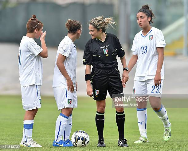 L'AQUILA ITALY MAY 19 Referee Maria Marotta during the women's U19 match between Italy and Belgium at Stadio Tommaso Fattori on May 19 2015 in...