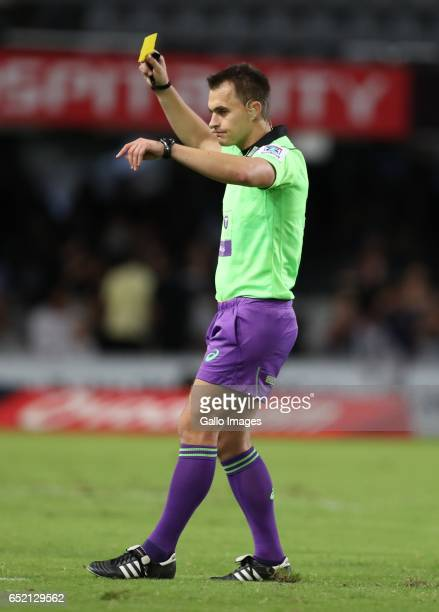 Referee Marius van der Westhuizen showing Jack Dempsey of the NSW Waratahs a yellow card during the Super Rugby match between the Cell C Sharks and...