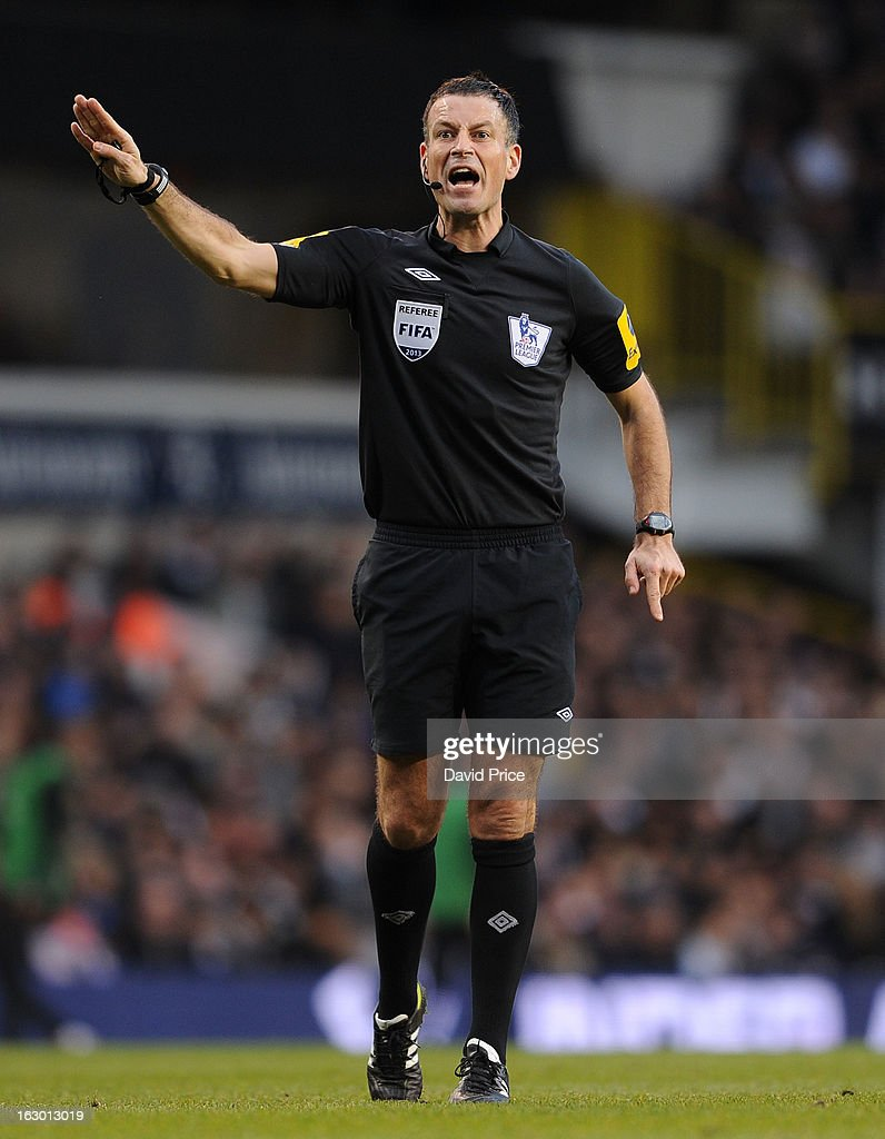 Referee Mark Clattenburg during the Barclays Premier League match between Tottenham Hotspur and Arsenal at White Hart Lane on March 01, 2013 in London, England.