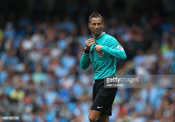 Referee Mark Clattenburg during the Barclays Premier League match between Manchester City and Watford at Etihad Stadium on August 29 2015 in...