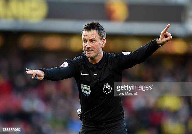 Referee Mark Clattenburg during the Barclays Premier League match between Watford and Crystal Palace at Vicarage Road on December 26 2016 in Watford...