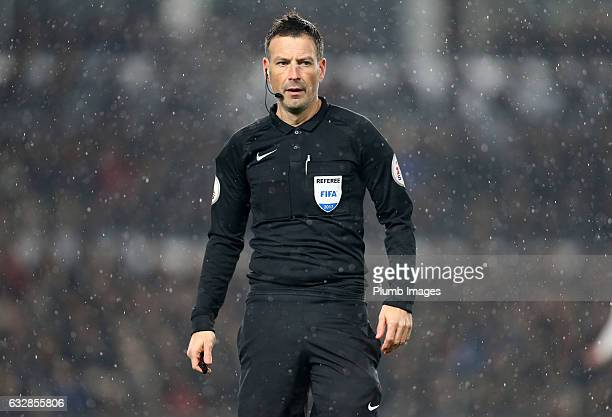 Referee Mark Clattenburg during the Emirates FA Cup Fourth Round tie between Derby County and Leicester City at iPro Stadium on January 27 2017 in...
