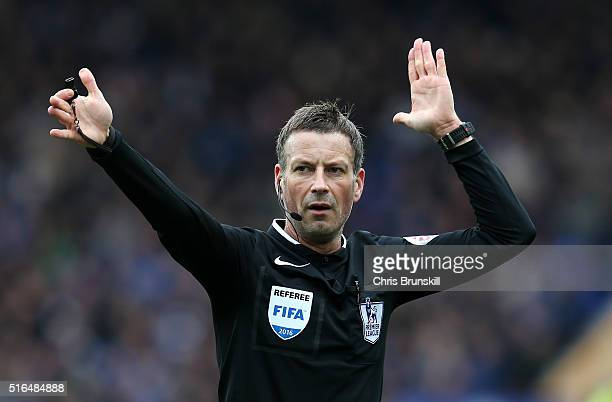 Referee Mark Clattenburg gestures during the Barclays Premier League match between Everton and Arsenal at Goodison Park on March 19 2016 in Liverpool...
