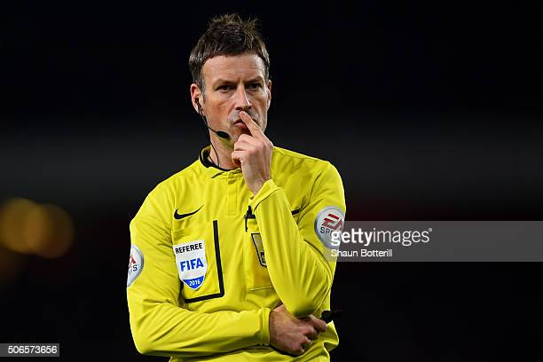 Referee Mark Clattenburg looks on during the Barclays Premier League match between Arsenal and Chelsea at Emirates Stadium on January 24 2016 in...