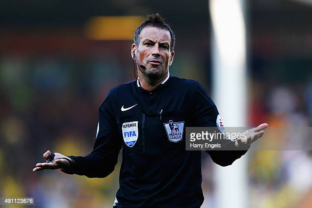 Referee Mark Clattenburg reacts during the Barclays Premier League match between Norwich City and Leicester City at Carrow Road on October 3 2015 in...