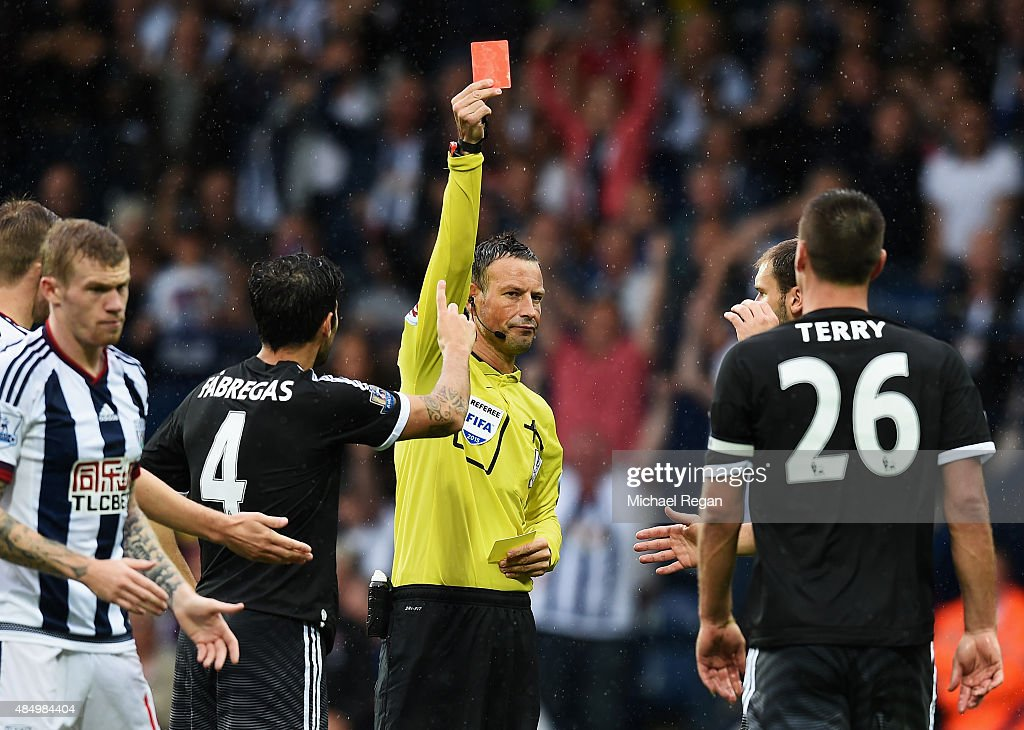 Referee <a gi-track='captionPersonalityLinkClicked' href=/galleries/search?phrase=Mark+Clattenburg&family=editorial&specificpeople=2108870 ng-click='$event.stopPropagation()'>Mark Clattenburg</a> shows the red card to <a gi-track='captionPersonalityLinkClicked' href=/galleries/search?phrase=John+Terry&family=editorial&specificpeople=171535 ng-click='$event.stopPropagation()'>John Terry</a> of Chelsea during the Barclays Premier League match between West Bromwich Albion and Chelsea at The Hawthorns on August 23, 2015 in West Bromwich, England.