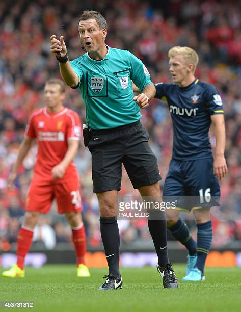 Referee Mark Clatternburg is pictured during the English Premier League football match between Liverpool and Southampton at Anfield stadium in...
