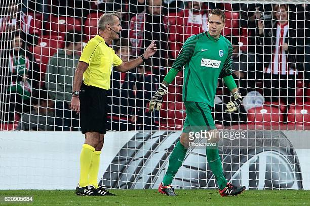 Referee Martin Atkinson and Marco Bizot goalkeeper of KRC Genk pictured during the UEFA Europa League group F stage match between Athletic Club de...