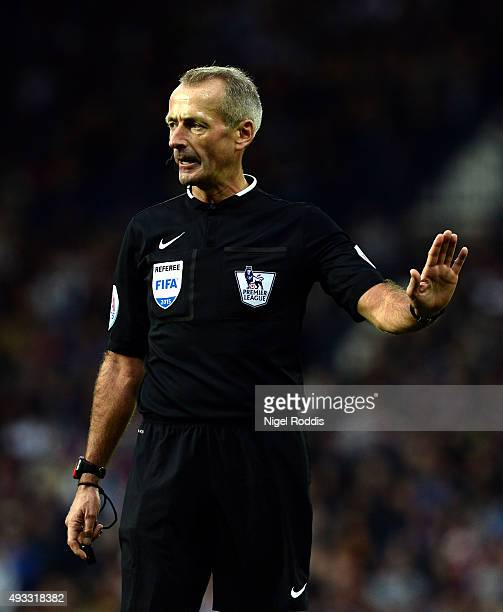 Referee Martin Atkinson during the Barclays Premier League match between West Bromwich Albion and Sunderland at The Hawthorns on October 17 2015 in...