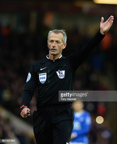 Referee Martin Atkinson during the Barclays Premier League match between Norwich City and Everton at Carrow Road on December 12 2015 in Norwich...
