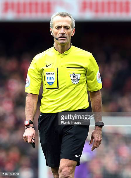 Referee Martin Atkinson during the Premier League match between Arsenal and Leicester City at Emirates Stadium on February 14 2016 in London United...