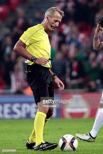Referee Martin Atkinson pictured during the UEFA Europa League group F stage match between Athletic Club de Bilbao and KRC Genk at the Estadio de San...