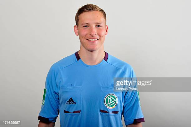 Referee Martin Petersen poses during the DFB referee team presentation on June 27 2013 in Grassau Germany