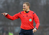 Referee Martin Petersen reacts during the 3Liga match between Chemnitzer FC and Hallescher FC at Stadion an der Gellertstrasse on Dezember 06 2014 in...