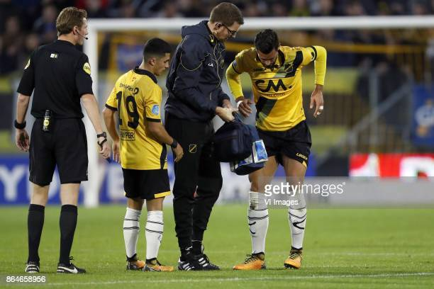 referee Martin van den Kerkhof Manu Garcia of NAC Breda caretaker Paul Jongmans of NAC Breda Pablo Mari Villar of NAC Breda during the Dutch...