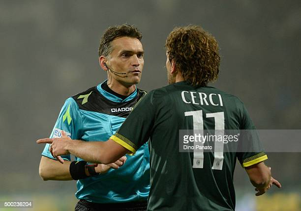referee Massimiliani Irrati speakes with Alessio Cerci of AC Milan during the Serie A match between Carpi FC and AC Milan at Alberto Braglia Stadium...