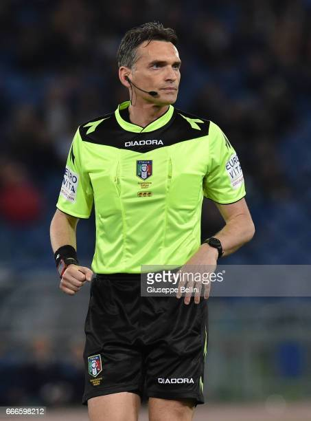 Referee Massimiliano Irrati during the Serie A match between SS Lazio and SSC Napoli at Stadio Olimpico on April 9 2017 in Rome Italy