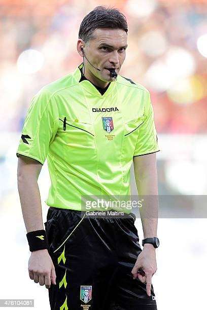 Referee Massimiliano Irrati of Pistoia gestures during the Serie A match between Genoa CFC and Calcio Catania at Stadio Luigi Ferraris on March 2...