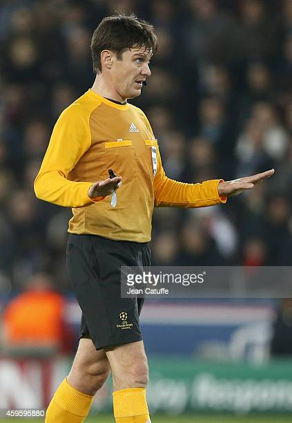 Referee Matej Jug in action during the UEFA Champions League Group F match between Paris SaintGermain FC and Ajax Amsterdam at Parc des Princes...