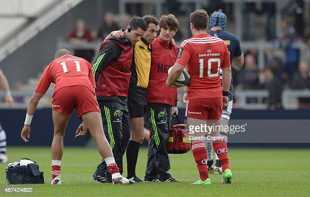 Referee Mathieu Raynal is carried from the field injuried during the European Rugby Champions Cup match between Sale Sharks and Munster at AJ Bell...