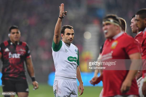Referee Mathieu Raynal reacting during the match between the Crusaders and the British Irish Lions at AMI Stadium on June 10 2017 in Christchurch New...