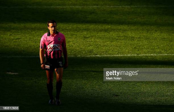 Referee Matt Cecchin is pictured during the NRL Elimination Final match between the Cronulla Sutherland Sharks and the North Queensland Cowboys at...