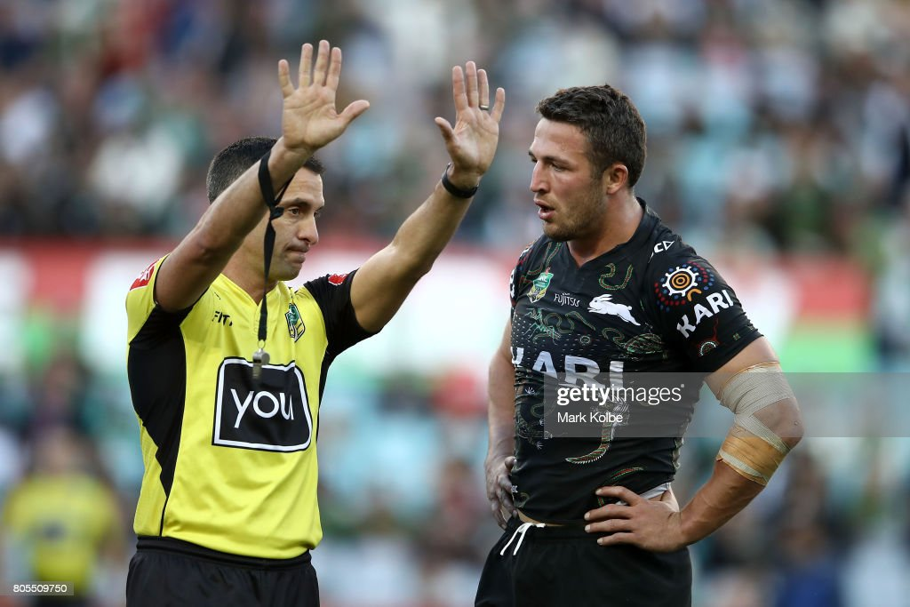 Referee Matt Cecchin sends Sam Burgess of the Rabbitohs to the sin bin during the round 17 NRL match between the South Sydney Rabbitohs and the Penrith Panthers at ANZ Stadium on July 2, 2017 in Sydney, Australia.