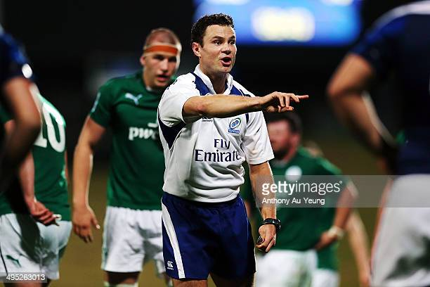 Referee Matt O'Brien makes a call during the 2014 Junior World Championships match between France and Ireland at QBE Stadium on June 2 2014 in...