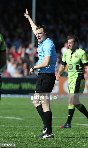 Referee Matthew Carley in action during the Aviva Premiership match between Saracens and Northampton Saints at Allianz Park on April 13 2014 in...