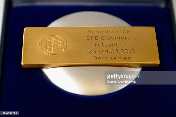 Referee medals are seen during the DFB C Juniors Futsal Cup on March 24 2013 in Bergkamen Germany