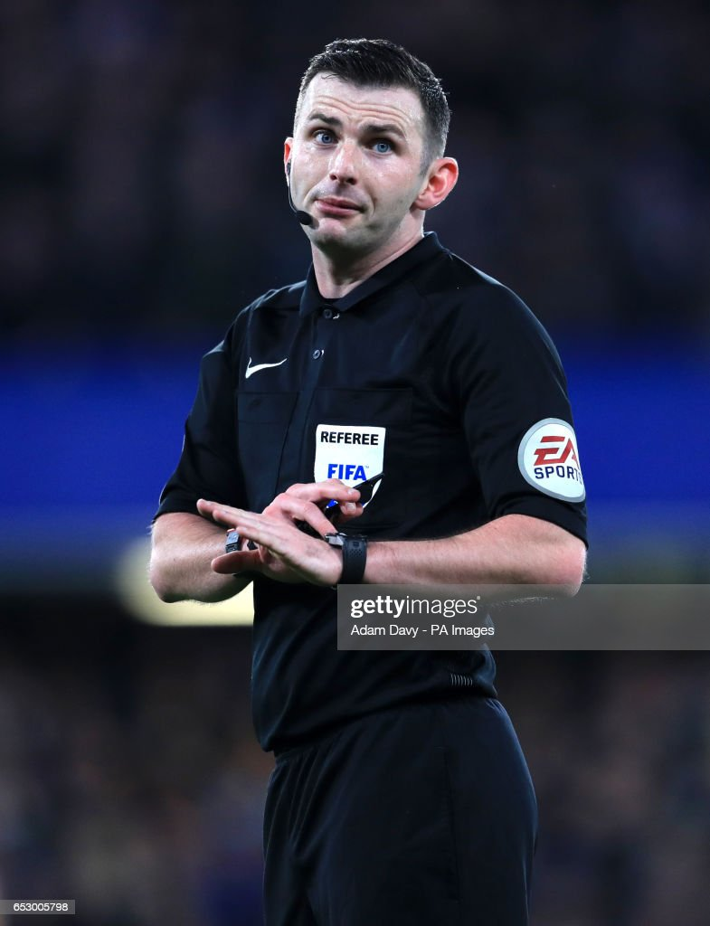 Referee Michael Oliver during the Emirates FA Cup, Quarter Final match at Stamford Bridge, London.