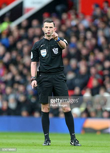 Referee Michael Oliver during the Premier League match between Manchester United and Leicester City at Old Trafford on May 01 2016 in Manchester...