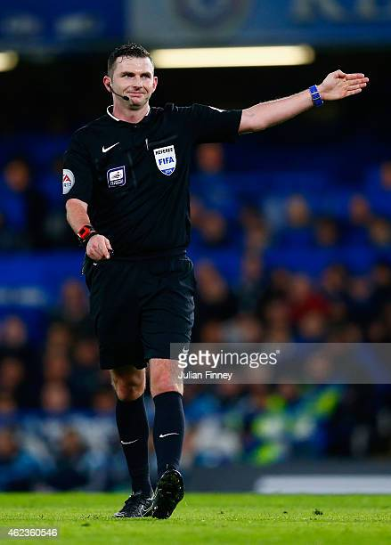 Referee Michael Oliver in action during the Capital One Cup SemiFinal second leg between Chelsea and Liverpool at Stamford Bridge on January 27 2015...
