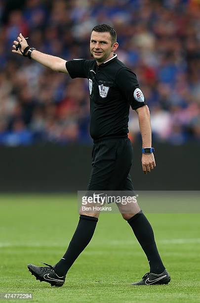 Referee Michael Oliver in action during the Premier League match between Leicester City and Queens Park Rangers at The King Power Stadium on May 24...