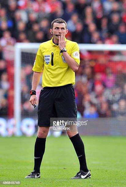 Referee Michael Oliver is pictured during the English Premier League football match between Southampton and Everton at St Mary's Stadium in...