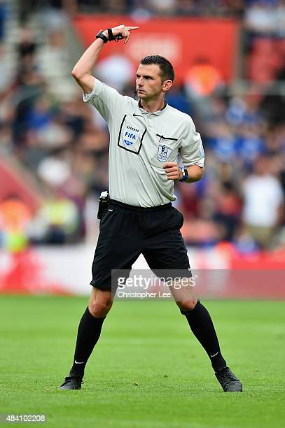 Referee Michael Oliver signals during the Barclays Premier League match between Southampton and Everton at St Mary's Stadium on August 15 2015 in...