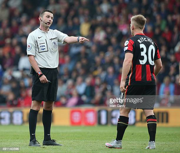 Referee Michael Oliver talks to Matt Ritchie of Bournemouth during the Barclays Premier League match between AFC Bournemouth and Watford at the...