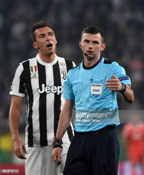 Referee Michael Olivier is seen during the UEFA Champions League group D match between Juventus and Sporting CP at Juventus Stadium on October 18...