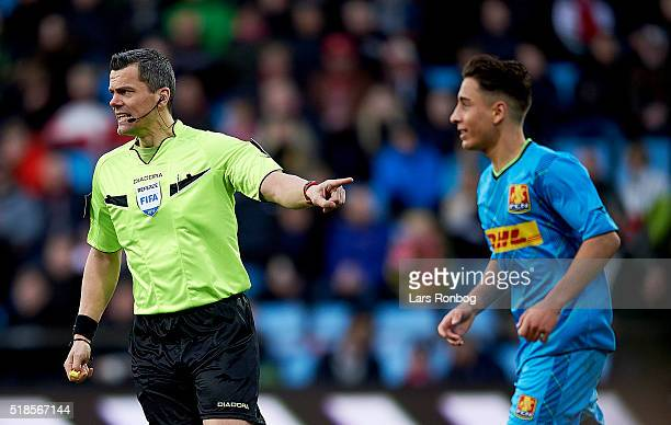 Referee Michael Tykgaard in action against Emre Mor of FC Nordsjalland during the Danish Alka Superliga match between AaB Aalborg and FC Nordsjalland...