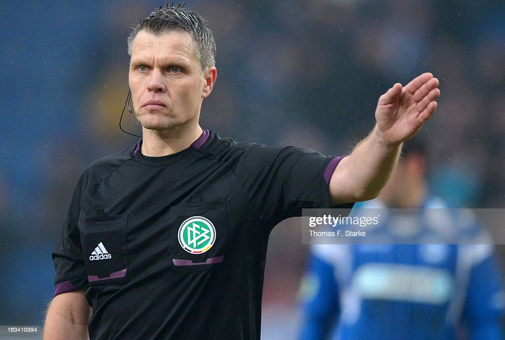 Referee Michael Weiner reacts during the Third League match between Arminia Bielefeld and Preussen Muenster at Schueco Arena on March 9, 2013 in Bielefeld, Germany.