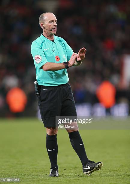 Referee Mike Dean during the Premier League match between AFC Bournemouth and Sunderland at Vitality Stadium on November 5 2016 in Bournemouth England