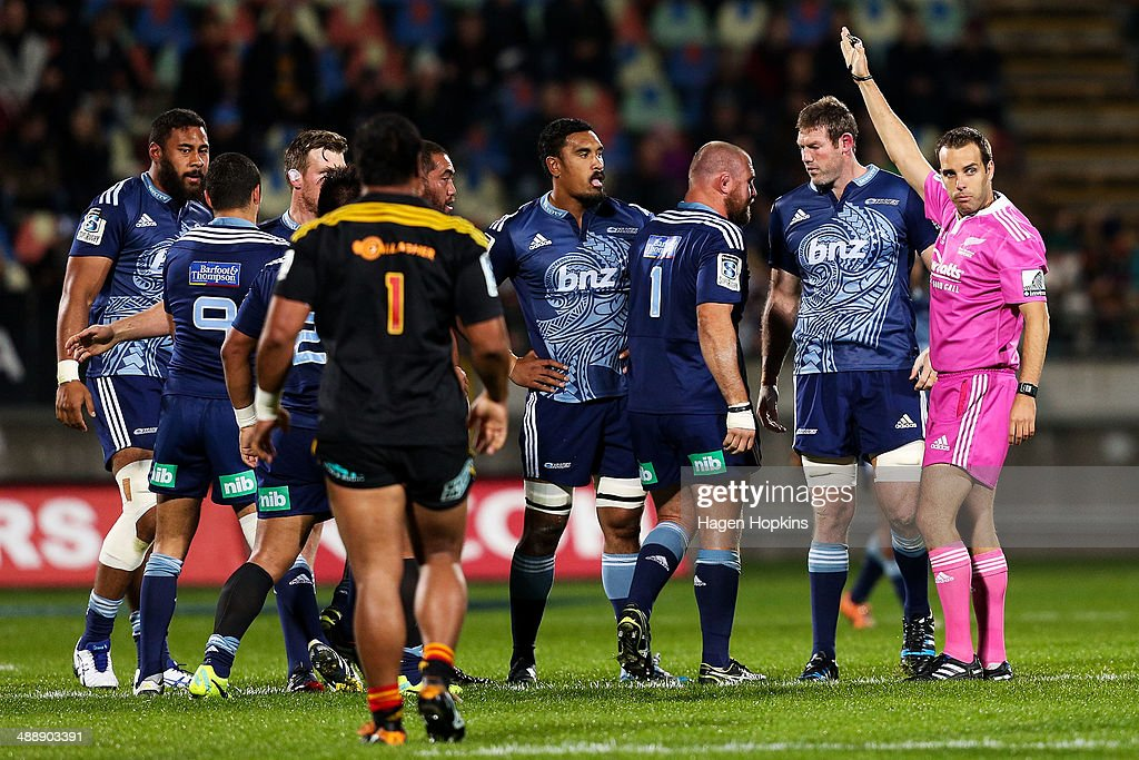 Referee Mike Fraser makes a call during the round 13 Super Rugby match between the Chiefs and the Blues at Yarrow Stadium on May 9, 2014 in New Plymouth, New Zealand.