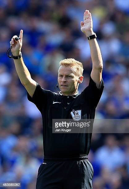 Referee Mike Jones during the Barclays Premier League match between Everton and Watford at Goodison Park on August 8 2015 in Liverpool England