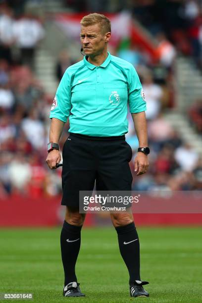 Referee Mike Jones during the Premier League match between Southampton and Swansea City at St Mary's Stadium on August 12 2017 in Southampton England